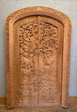 Carved Arched Oak Door - reclaimed