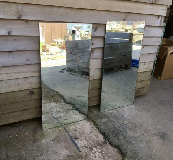 Pair of Frameless Glass Mirrors