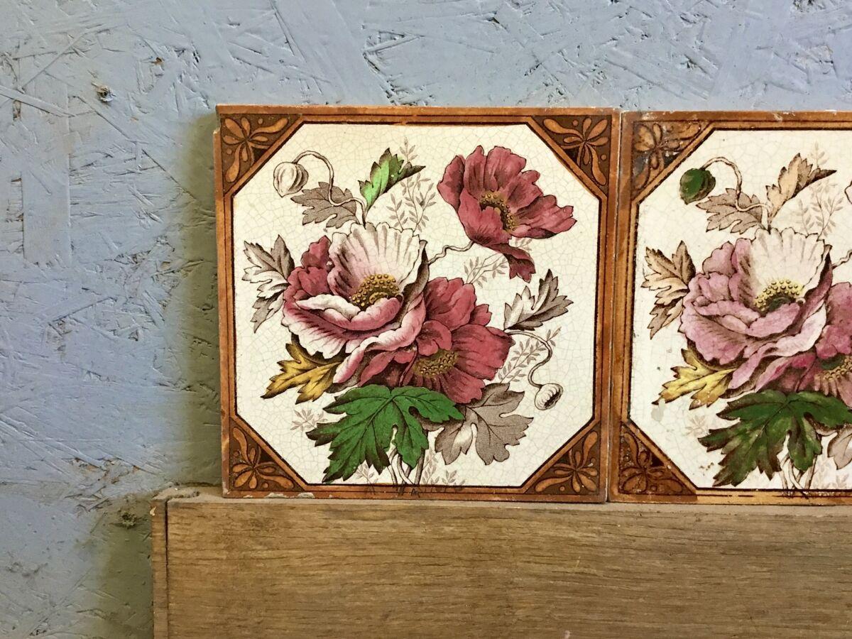 Set of 6 Floral Orange Tiles