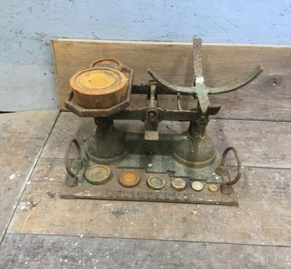 Antique Scales With Weights