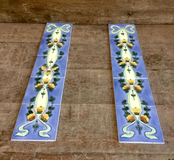 Blue Stained Fireplace Tiles