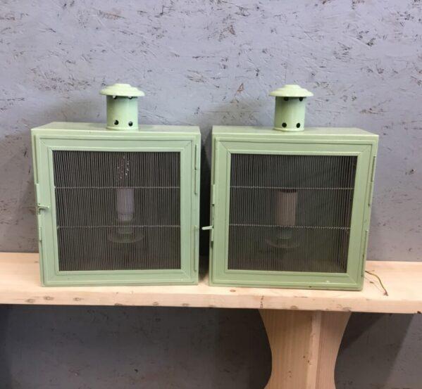 Mint Green Light Box Pair